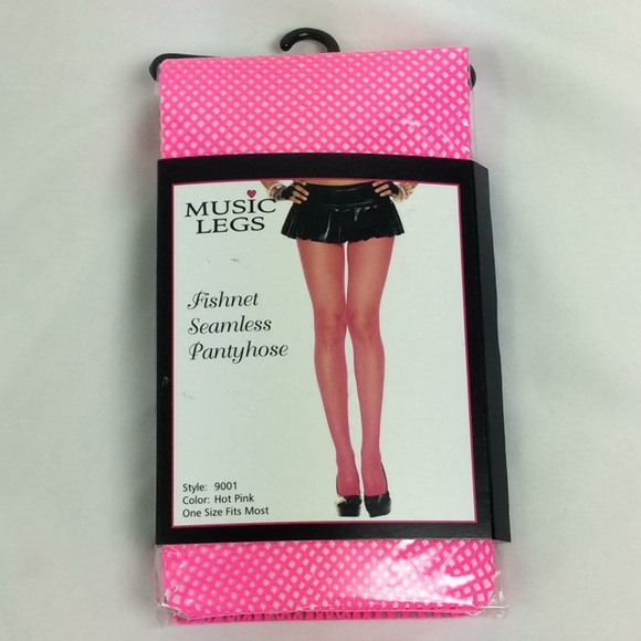 9b0b124ee075a Music Legs Accessories | Tights Nylon Fishnet One Size Hot Pink ...